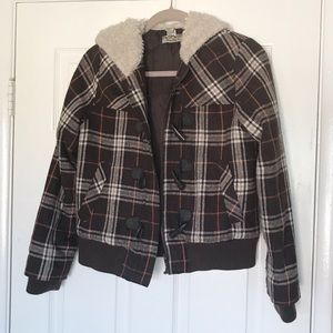 Plaid Print Forever 21 Faux Collar & Hood Jacket